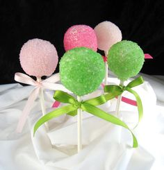 cakepops pink and green colored sugar