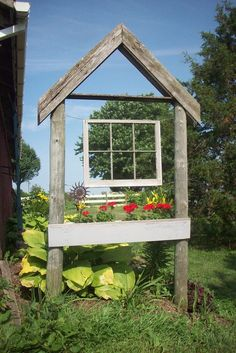 Old Rustic Garden Wood Arch...with a prim window & a flower box.