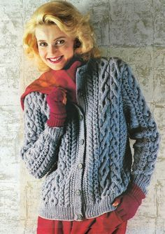 This PDF Vintage Pretty Womens Ladies BLUE Knitting Pattern, ARAN Jacket Cardigan Robin Interlocking Cables, Winter Snuggly Classic, Retro is just one of the custom, handmade pieces you'll find in our patterns & blueprints shops. Aran Knitting Patterns, Knitting Stitches, Knit Patterns, Vintage Patterns, Girls Sweaters, Cardigans For Women, Knit Cardigan Pattern, Raglan, Vintage Knitting