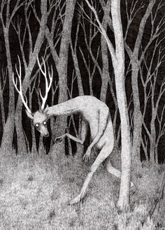 drawing Illustration art Black and White creepy weird forest pen deer spooky pen and ink micron