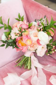 Lovely blush pink, peach and coral blooms with greenery. Modern wedding bouquet Wedding Decorations, Table Decorations, Fresh Flowers, Flower Arrangements, Floral Wreath, Wreaths, Party, Furniture, Home Decor