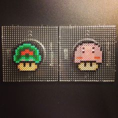 Nintendo mushrooms perler beads by sajagee perler,hama,square pegboard,video games,nintendo, super mario bros,mushroom,