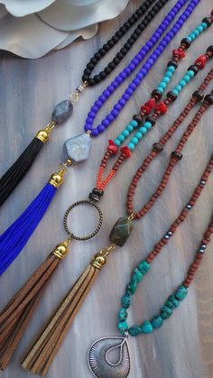 Boho tassel necklace. Beaded tassel by AllAboutEveCreations
