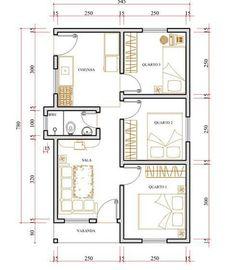 Plano casa simples 3 quartos