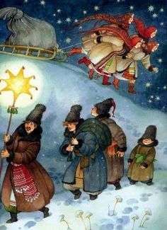 Didukh, Kalada and Midnight Star, Ukraine Winter Solstice Christmas In Ukraine, Ukrainian Christmas, Christmas Art, Vintage Christmas, Ukrainian Art, Snow Scenes, Russian Art, Winter Solstice, Christmas Pictures