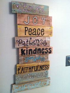 Pallet Art - Bible Verse Series- Maybe a bunch of these for the living room that is still not decorated.  Wish I was more artsy/crafty.