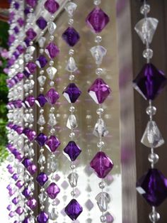 Multi Purple Gemstone Shape Beaded Curtain