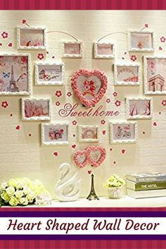 Heart shaped wall décor is trendy, adorable and charming. You can get all kinds of unique home décor ideas from looking at different pieces of heart wall art décor and come up with something interesting and cute of your own. I love combining heart wall clocks with abstract metal shaped wall art along with some heart shaped wall décor accents for my master bedroom, living room or girls room.   Heart Shaped Wall Decor