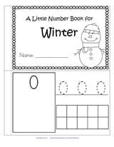 Little Number Book for Winter Children can recognize the numerals, count the sets, trace the numbers, and fill in the 10-frames by stamping or coloring