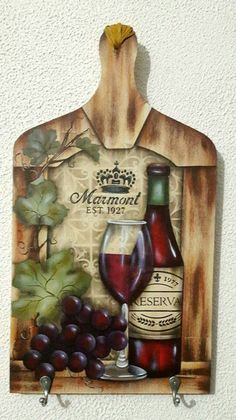 Tablas de fiambre Pallet Painting, Stencil Painting, Fabric Painting, Painting On Wood, Decoupage Vintage, Decoupage Paper, Bottle Painting, Bottle Art, Wood Crafts