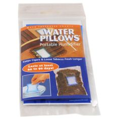 Water Pillow Portable Humidifier, 1 pack by Other Quality Humidifiers. $4.98. Sold in Singles packs. Keep a few cigars and loose tobacco fresh for 45-60 days. One water pillow is recommended for 5-10 cigars. Non-toxic and disposable. This simple device is what you need to keep a few cigars and loose tobacco fresh for 45-60 days. Just dip in distilled water for 15 seconds to activate and place the hydrated cell into its reclosable bag, then place into your travel humidor or cigar...