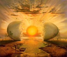 """""""Sunrise by the Ocean"""" by surrealist painter and sculptor Vladimir Kush. The cosmic egg or world egg is a mythic image of the primal unity that appears in many creation stories."""