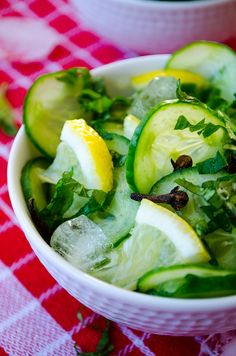 Very Refreshing Cucumber Salad. Mint, cloves, and lemons yum.