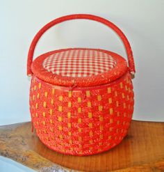Sewing Basket Vintage Red Sewing Basket Red by Collectitorium