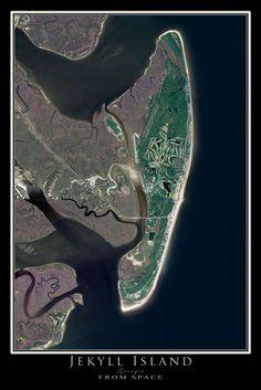Jekyll Island Georgia From Space Satellite Art Poster