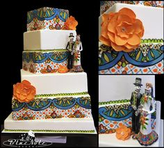 Dia De Los Muertos wedding cake #Talavera #weddingcake #diadelosmuertos #wedding | Blue Note Bakery - Austin, Texas