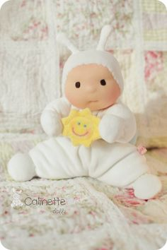 """Céline, baby snail- Waldorf doll 10"""" by Calinette"""