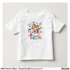PAW Patrol | Skye - Pastel Doodle. Puppy, dog lover. Baby, bebé. Producto disponible en tienda Zazzle. Vestuario, moda. Product available in Zazzle store. Fashion wardrobe. Regalos, Gifts. #camiseta #tshirt