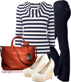 """""""Navy and Orange"""" by styleofe on Polyvore"""