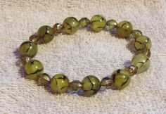 Natural Green Dragon Veins Agate & Olive Green by LuckyFrogDesigns