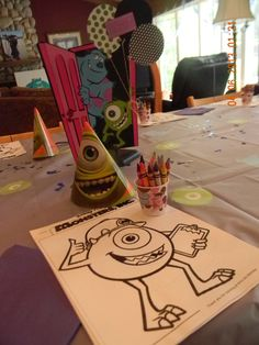 Monsters inc color packs for a birthday party