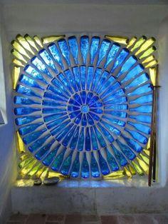 Blue bottle glass window