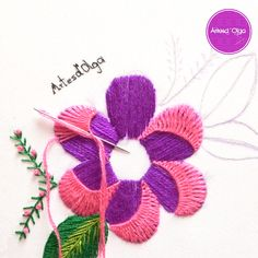 hand embroidery designs with stitches Diy Embroidery Patterns, Hand Embroidery Videos, Embroidery Stitches Tutorial, Embroidery Flowers Pattern, Creative Embroidery, Simple Embroidery, Learn Embroidery, Crewel Embroidery, Embroidery Kits