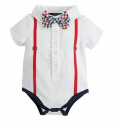 2015 Andy & Evan White Polo Onsie with Bowtie and Suspenders Now in Stock