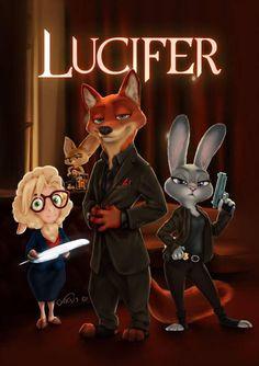 Zootopia x Lucifer Zootopia Comic, Zootopia Fanart, Disney Art, Disney Movies, Cute Disney, Roi Lion Simba, Zootopia Nick And Judy, Tom Ellis Lucifer, Judy Hopps
