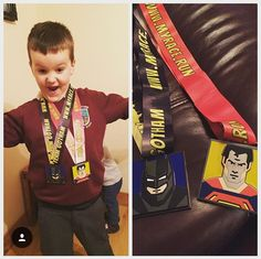 A thrilled racer with both their Team Gotham and Team Krypton Justice Series Virtual Race Medals!