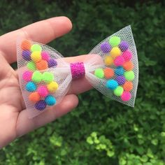 Pom Pom hair bows kids Pom Pom hair clip Pom Pom pig tail - - Fun Pom Pom and tulle hair bows. Perfect for pigtails Bows measure approximately long and come attached to alligator clip ( matching headband available upon request). Tulle Hair Bows, Baby Hair Bows, Crochet Hair Bows, Disney Hair Bows, Tulle Poms, Organizing Hair Accessories, Baby Hair Accessories, Wedding Accessories, Tulle Crafts