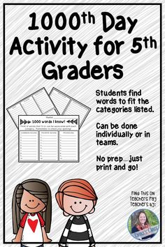 """When students reach upper elementary, many """"fun"""" activities like day and whatnot are overlooked.let's change that! Your graders can celebrate their day of school by writing down 1000 words they know based upon categories given. Find th Elementary Library, Elementary Teacher, Upper Elementary, Elementary Schools, Teaching 5th Grade, Fifth Grade Math, 5th Grade Classroom, Library Activities, Fun Activities"""