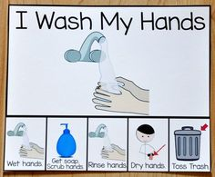 I Wash My Hands Card This printable behavior support is a visual support for s Autism Classroom, New Classroom, Special Education Classroom, Preschool Classroom, Kindergarten, Hands On Activities, Preschool Activities, Preschool Printables, Motor Activities