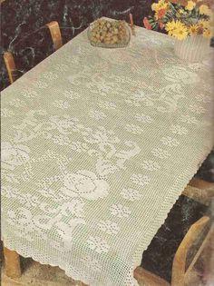 """Patrón #282: Mantel """"Rosas y Guirnaldas"""" a Crochet #ctejidas http://blgs.co/iDq-hG"""