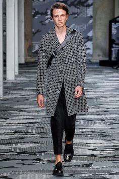Neil Barrett Spring 2016 Menswear Fashion Show Love the pattern on this coat.