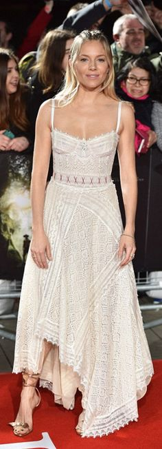 Who made  Sienna Miller's white lace dress?