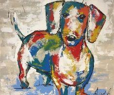 Kleurrijk schilderij - Teckel