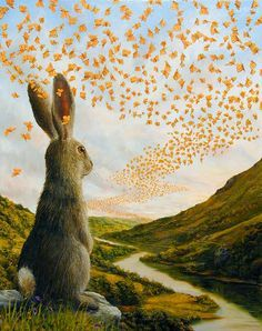 Robert Bissell - Contemporary fine art and prints Art And Illustration, Year Of The Rabbit, Rabbit Art, Bunny Art, Whimsical Art, Hare, Art Forms, Illustrators, Fantasy Art