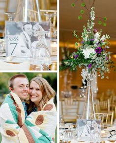 "Vellum Table Numbers from Engagement Photos for a ""Home"" Themed Wedding 