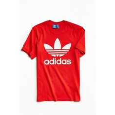 adidas Trefoil Tee (37 AUD) ❤ liked on Polyvore featuring men's fashion, men's clothing, men's shirts, men's t-shirts, mens red shirt, adidas mens t shirt, mens red t shirt and adidas mens shirts