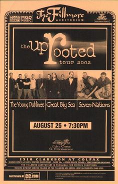 Original concert poster for Young Dubliners / Great Big Sea / Seven Nations live at the Fillmore in Denver, CO 2002. 11