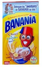 BANANIA $8.30 Delicious and healthy Banania, made with cocoa, cereals, honey and banana, has been French children's favorite for four generations. This breakfast mix can be consumed with cold or hot milk.  Banania is nearly one century old, and counting. It is hard to find a more emblematic French food.  400 grams / 14.1 oz French Kids, French Food, Melting Chocolate, Hot Chocolate, Funny Ads, Cacao, Vegetarian Chocolate, Sweet Memories, Vintage Ads