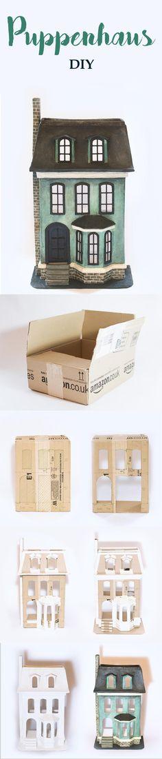 Einfaches Puppenhaus selber bauen aus altem Versandkarton #pappmache #karton #puppenhaus #diy #kinderzimmer #viktorianisch