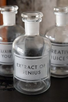 Etched Apothecary Bottle 250ml - Extract of Genius