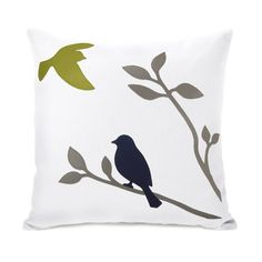 Apple green, navy blue and grey applique flying bird and bird on a branch pillow cover - Modern 16x16 accent pillow