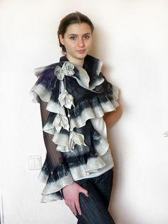 Wavy ruffled Shawl , butterfly scarf, Felt Scarf, white black gold, wool and silk, Muga silk, by Marywool on Etsy