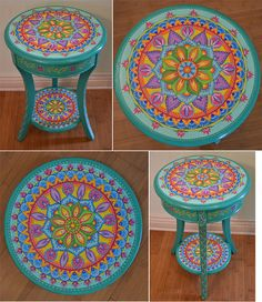 Hand Painted Round Accent Table Painted Furniture Boho Style Solid Wood 26 Inches Mandala Table - pinupi love to share Hand Painted Chairs, Funky Painted Furniture, Bohemian Furniture, Recycled Furniture, Paint Furniture, Table Furniture, Painted Pots, Furniture Stores, Mandala Design