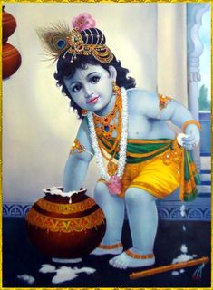 Buy Paintings Online by Artist Dilip Kadam - Bal Krishna - Bal Krishna Photo, Krishna Lila, Little Krishna, Krishna Hindu, Baby Krishna, Radha Krishna Images, Cute Krishna, Lord Krishna Images, Krishna Pictures
