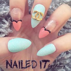 NAILED IT! Hand Painted False Nails - Designer Turquoise Coral Heart Tips by NailedItByChelsey on Etsy https://www.etsy.com/uk/listing/467714497/nailed-it-hand-painted-false-nails