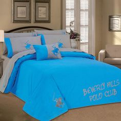 BEVERLY HILLS-POLO Polo Club 3-Piece Queen Comforter Set in Gray and Turquoise - Beyond the Rack